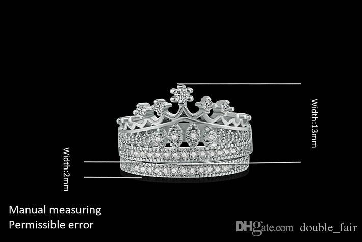 Top Quality Imitação de Cristal Branco Banhado A Ouro Da Princesa da Coroa Conjuntos de Anel de Casamento Para As Mulheres Da Moda Zircônia Cúbica de Jóias Por Atacado DFR685