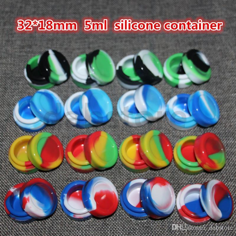 5ML الجملة حاوية السيليكون 100٪ للمأكولات سيليكون نونستيك الشمع الحاويات 32 * 18mm وحالات سيليكون في الجافة السجائر E العشبية
