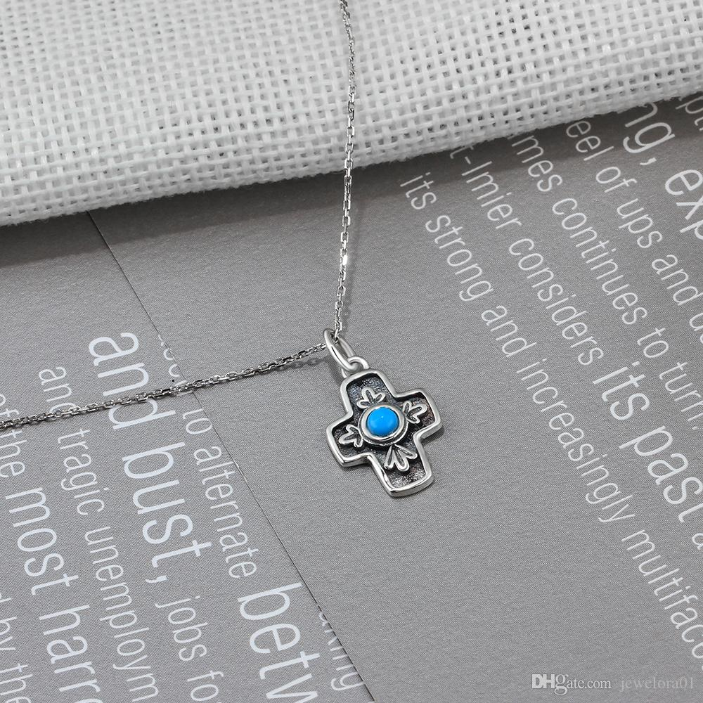 925 Sterling Silver Cross Design Pendent Necklace Vintage Style Silver Jewelry Simulated Turquoise Agate Necklaces For Women