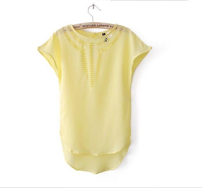 Camiseta de las mujeres Top casual 2016 nuevas camisetas Blusa de moda tops camiseta Ventas calientes vestido de gasa hueco grabado láser ropa de verano