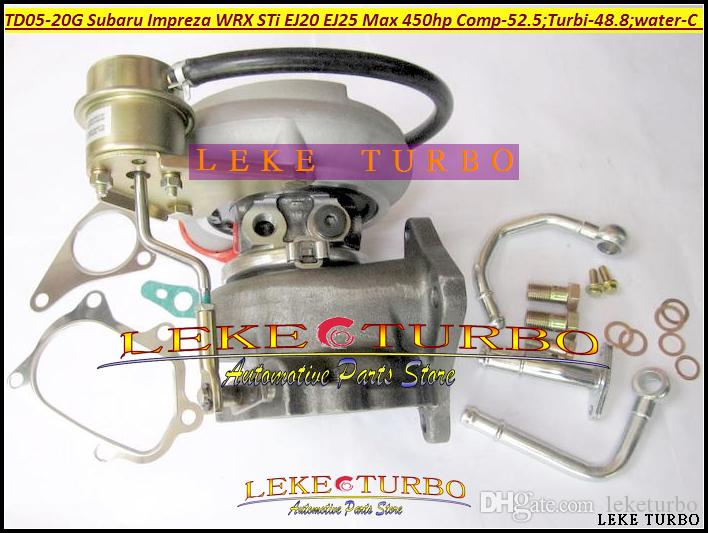 Wholesale New TD05 20G 8 TD05-20G TD05-20G-8 Turbo Turbocharger For SUBARU Impreza WRX STI EJ20 EJ25 MAX 450HP with Gaskets + Pipe fitting