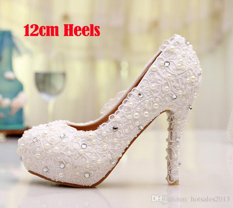 White Lace Flower Wedding Dress Shoes Bridesmaid Shoes Bridal Shoes Banquet Evening Party Prom Princess Shoes Low/Middle/High heel