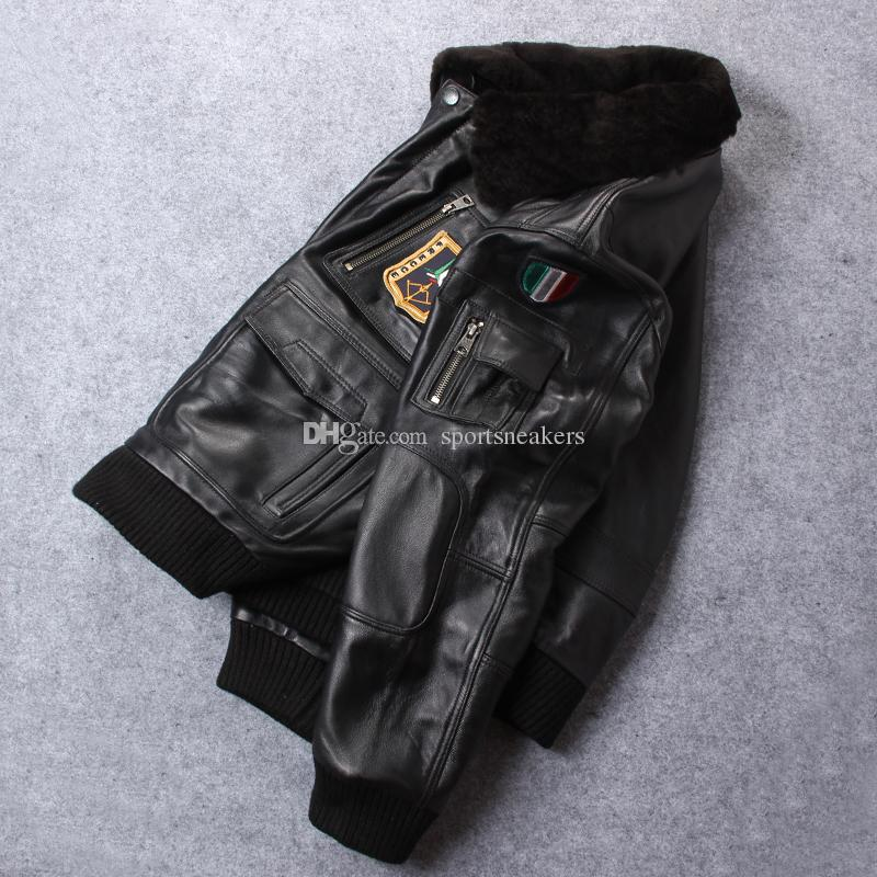 New arrival badge the USA air force flight suit Genuine sheepskin leather jacket with lamb fur collar