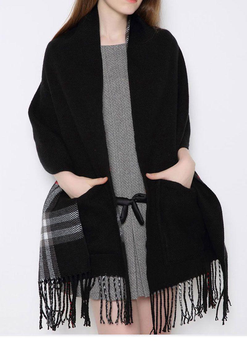 Famosa europea e americana a quadri con nappe in cashmere ispessita alla moda dell'edizione han, sciarpa da donna calda in autunno e inverno