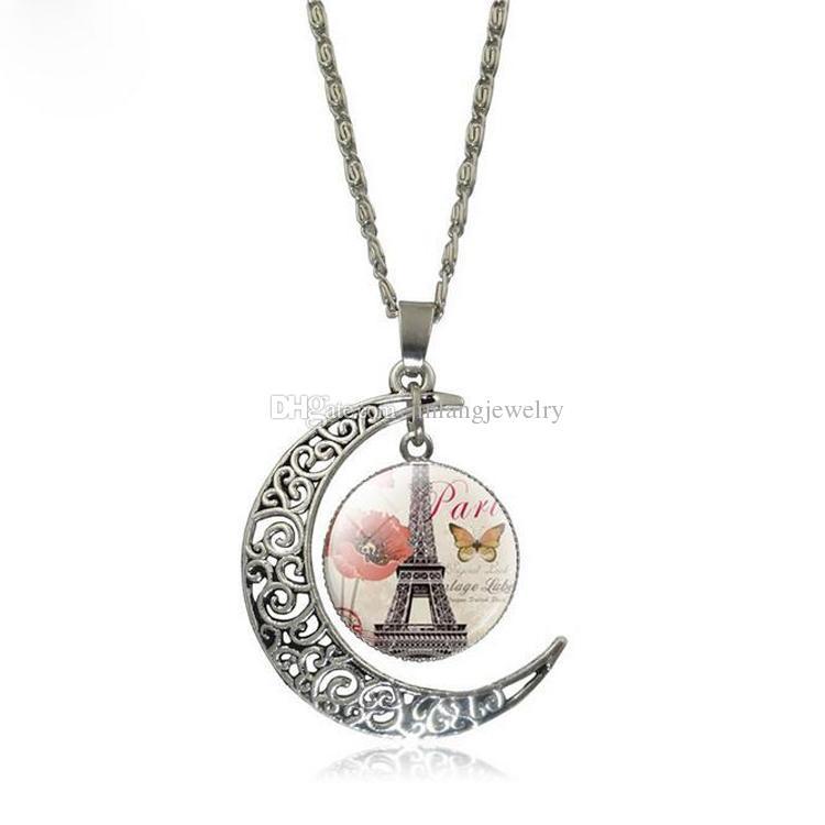 الأزياء مثقوب القمر قلادة قلادة استرخى برج سحر العتيقة الفضة مطلي قلادة للنساء مجوهرات هدية عيد