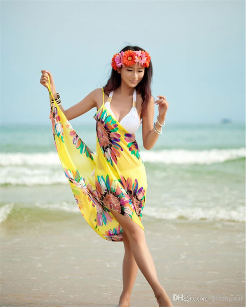 2017 Mujeres Del Verano Traje de Baño Atractivo Abierto-Trasero Abrigo Delantera Protector Solar Toallas de Playa Chiffon Shwal Girasol Saia Bikini 10 Unids / lote