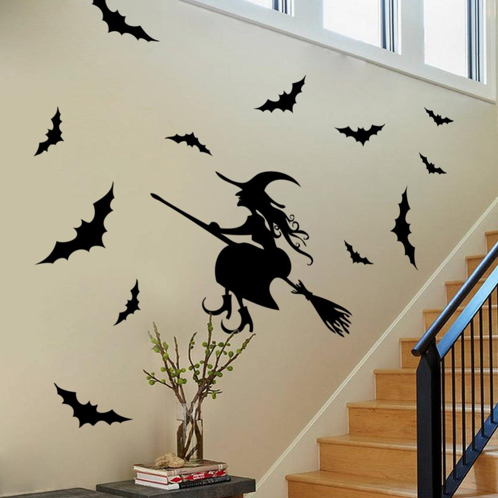 Halloween wall stickers glass stickers party supplies bar halloween wall stickers glass stickers party supplies bar decoration stickers witch bat stickers wall mural decals cheap wall mural sticker from yzm221 amipublicfo Gallery