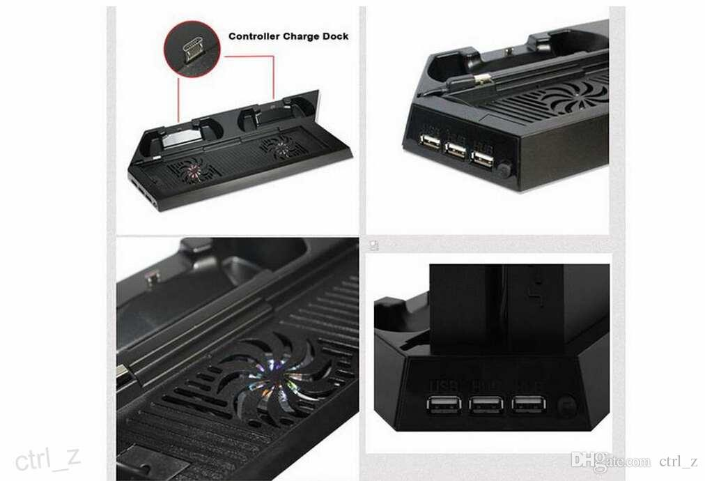 PlayStation 4 Dual Controller Charging Dock Station & Cooling Cool Fan Vertical Stand Station for Sony PS4 with retail box