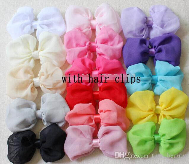 10%OFF NEW ARRIVAL! 2015 fashion 4 INCH/20pcs baby hair chiffon Bowknot hairpin girls hair bows Shabby Chic bows 16 colors choose free shipp