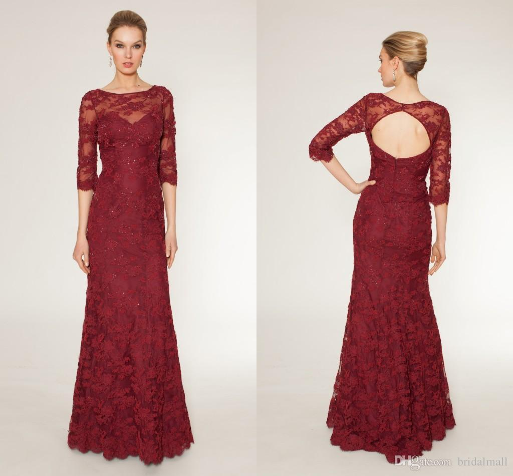 2015 Evening Dress Dark Red Lace With Half Sleeves Sheath Mother Of ...