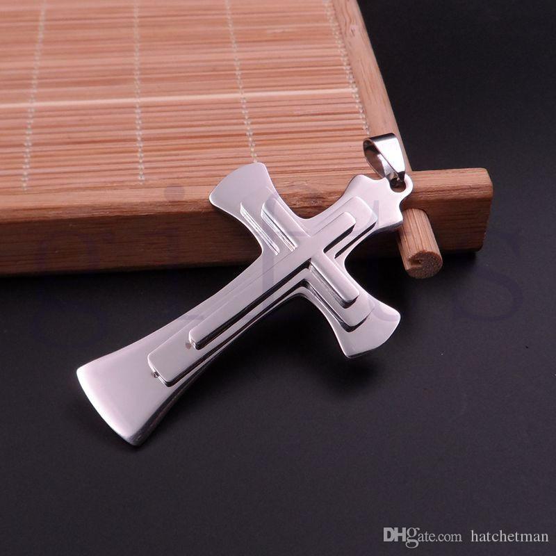 colgante de la cruz del acero frío acero de plata de los hombres con la caja 30inch del envío gratis de la cadena collar