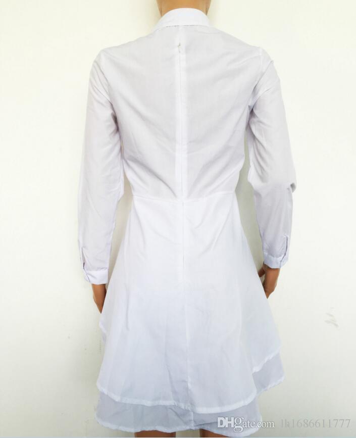 Kadınlar Bayanlar Uzun Kollu V Boyun Dalma Katmanlı Ruffled Flouncing Düzensiz Asimetrik Hem Bluz Gömlek Tops