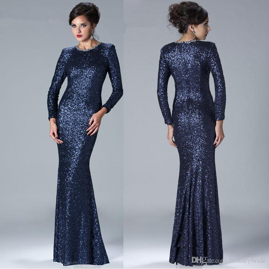 Wholesale 2016 Elegant Long Sheath Navy Blue Sparkle Sequins Jewel ...