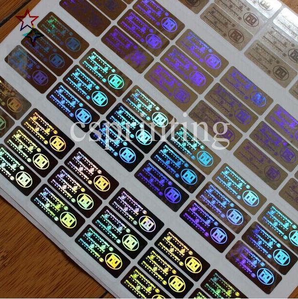 Etiqueta engomada del holograma personalizado pegatinas de seguridad genuina impresión antifake inamovible falsificada para logo lables