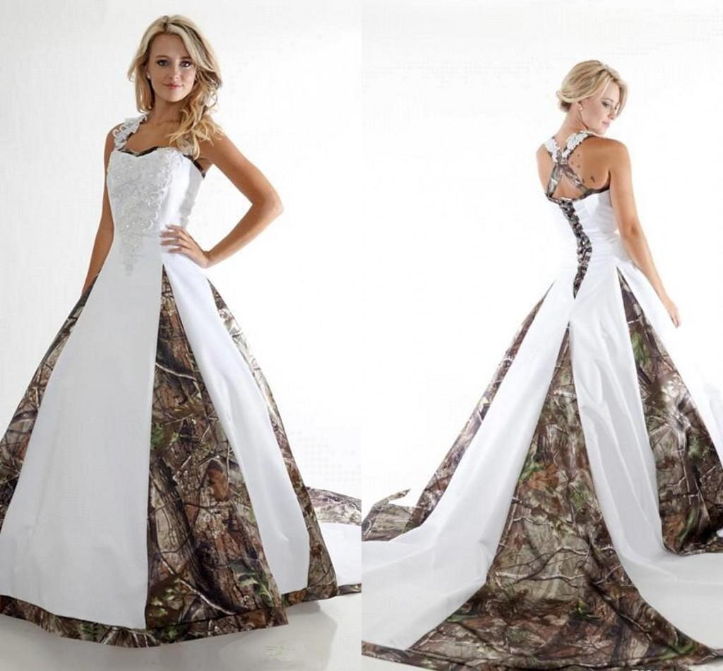a4017732d20 Discount 2016 Top Sell New Camo Wedding Dresses A Line Off Shoulder  Appliqued Ruffles Lace Up Back Floor Length Bridal Gowns BA1737 Strapless A  Line Wedding ...