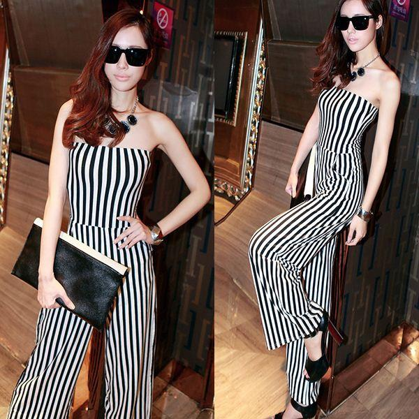 9a4632d6f29 Black White Stripe Jumpsuit Wide Leg Long Pants Sexy Womens High Waist  Strapless   Drop Shipping Pants Velcro Pants Care Pants Swimwear Online  with ...