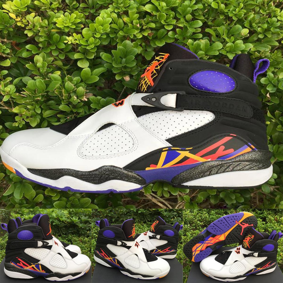 1229f24531bd Nike Air Jordan 8 Retro Viii 3 Peat Three Peat White Infrared Concord Mens  Basketball Sneakers Jordan Shoes 305381 142 100% Original Quality Sports  Shoes ...