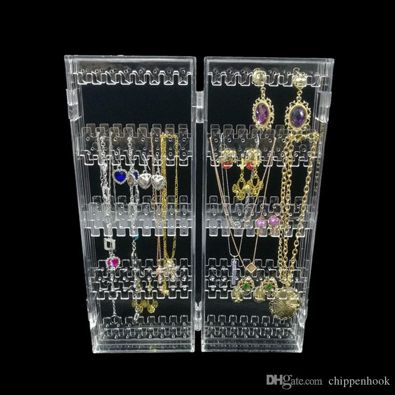 Foldable 4 Panel Clear Acrylic Makeup Jewelry Organizer Holder 256 Holes Earring Stud Necklace Bracelet Case Cabinet Stand Shelf Clear