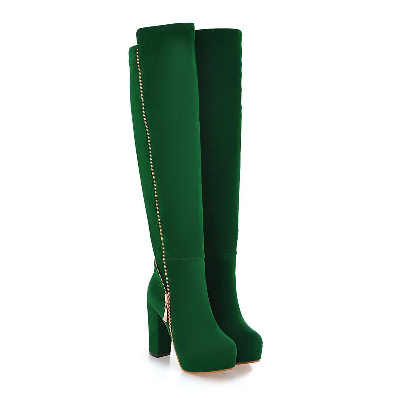 9dbb27d9bbb Wholesale ARMOIRE Hot Elegant Black Army Green Women Over Knee Thigh High  Snow Boots Ladies Shoes AI116 High Heels Plus Big Size 10 43 Combat Boots  For ...