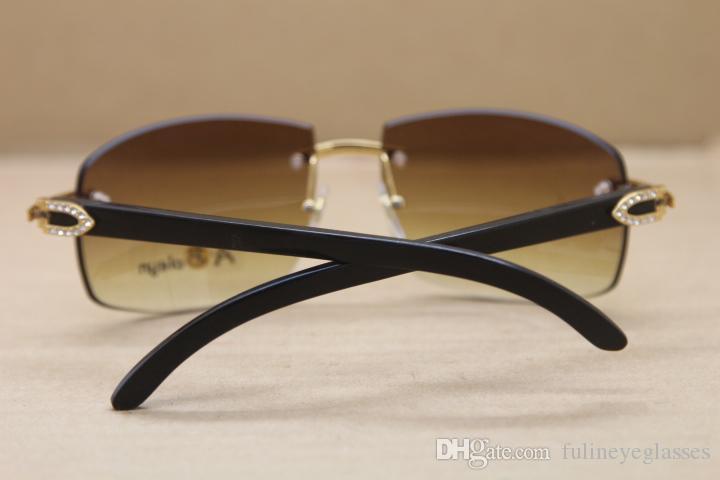 Hot aro 4189705 Sunglasses Big diamante óculos sem aro Mulheres Preto chifre de búfalo vidros de sol condução óculos Tamanho: 62-18-140mm