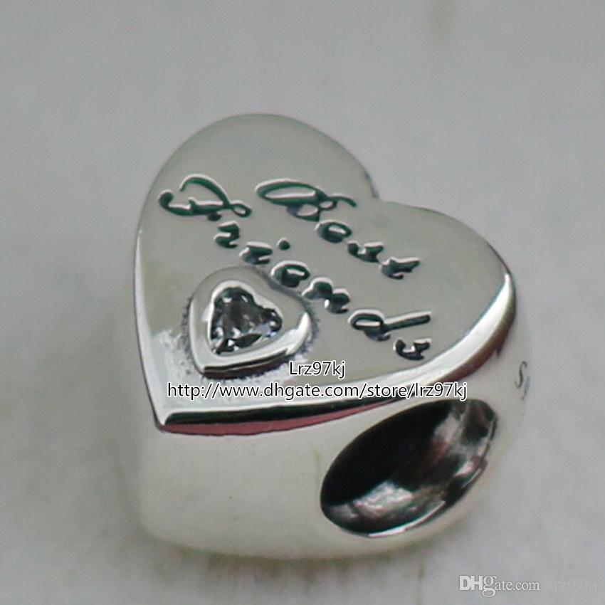 2015 nuevo 925 plata esterlina Amistad corazón encanto colgante del grano con Clear Cz adapta a joyas europeas collar