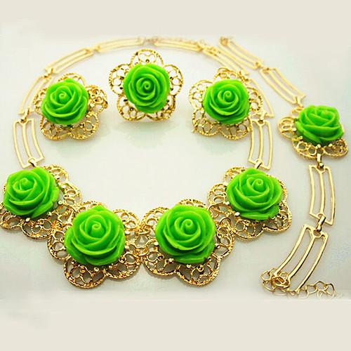 18K Gold Plated Green Rose Flower Woman Jewelry Set Gold Plated Necklace Set 767