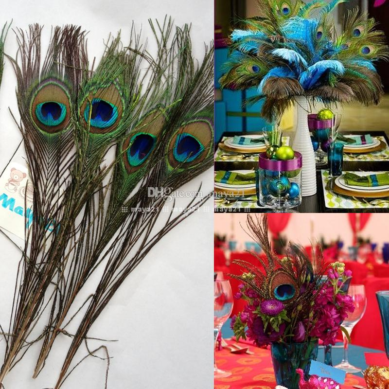 diy natural peacock feather eyes 10 12 inchs plume centerpiece wedding party table decoration. Black Bedroom Furniture Sets. Home Design Ideas