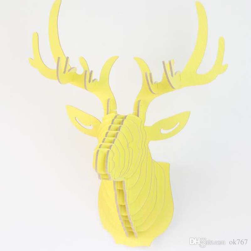DIY 3D 나무 다채로운 동물 사슴 머리 어셈블리 퍼즐 벽 장식 미술 나무 모델 키트 장난감 집 장식 장식