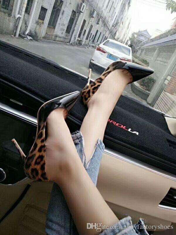 Sexy Women Stiletto High Heels Spring Dress Shoes Leopard Women Wedding Shoes Patent Leather Female Business Shoes Ladies Pumps Big Size 44