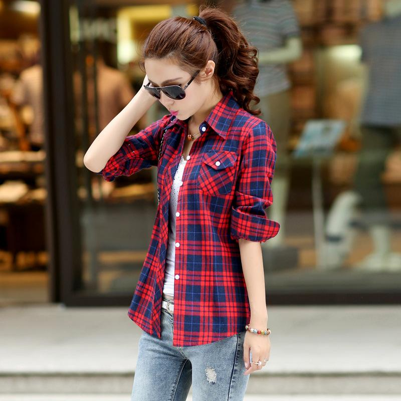 2018 women plaid flannel shirts button down lapel neck for Plaid button down shirts for women