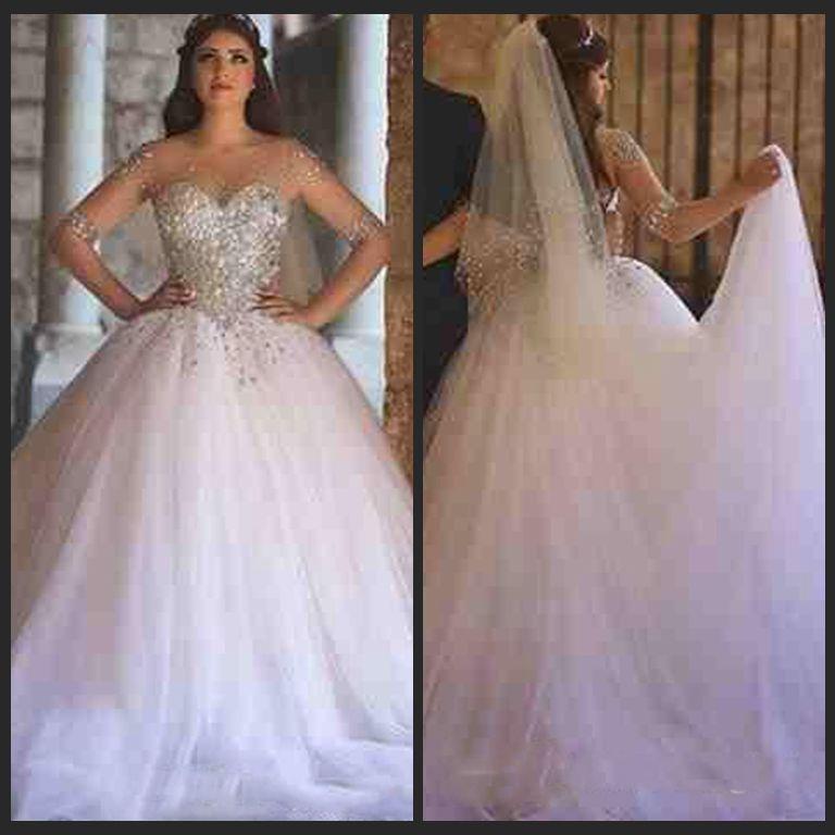 2018 Vintage Luxury Major Beading Wedding Dresses Sheer Illusion ...