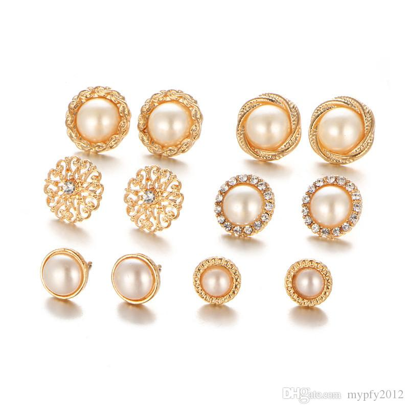 earrings color round set simulated pearl silver women pcs alloy products crystal stud earring gold for ball brincos vintage