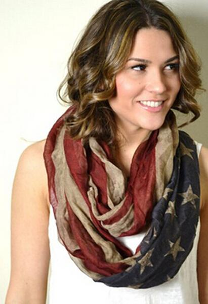 2015 hot sale Fashion viscose Vintage American Flag Infinity Scarfs Snood USA Women voile Scarves Shawls DHL free