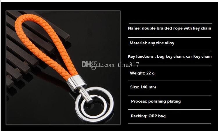 Small gifts fashion accessories Braided leather cord metal key chains Weave key chain on sale the new 2016 Weave Strap Key Chain 1527