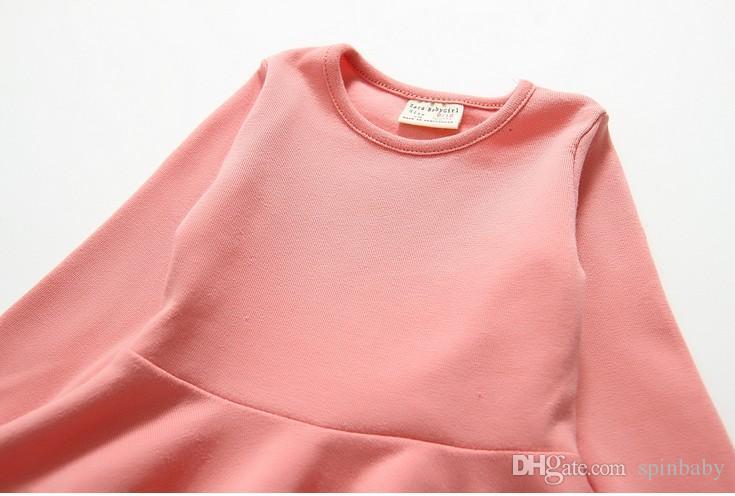 2014 가을 패션 소녀 드레스 Falbala - 긴팔 드레스 T - 셔츠 아기 Childen 의류 소녀 드레스 여자 드레스