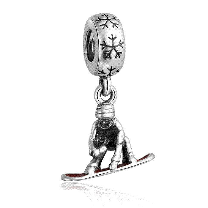 Home & Garden Popular Diy Winter Collection Christmas Theme Red Enamel 925 Real Silver Sleigh Man Charm Fit Bracelet