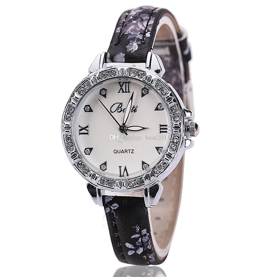 Hot Sale 2015 New Ladies Leather Crystal Rhinestone Watches Women Beauty Dress Quartz Wristwatch Hours Gift lady girls
