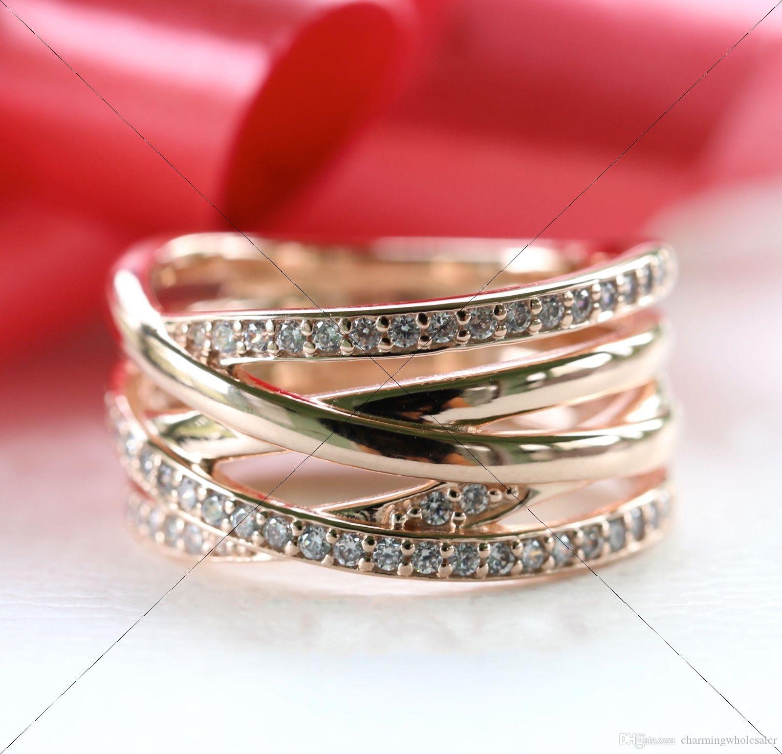 006514034 Rose Gold Entwined Rings S925 Silver Fits for Pandora Style Jewelry 180919CZ  H8 Pandora Rose Entwined Ring Rose Gold Entwined Ring Pandora Rose Silver  Ring ...