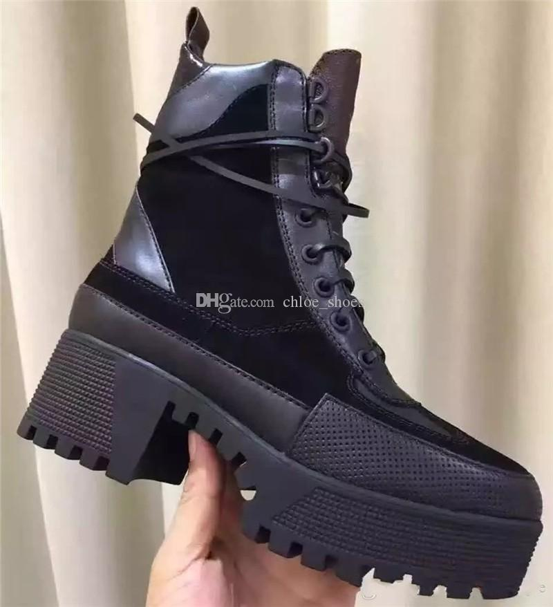 68c247c30de Brand High Platform Combat Military Boots Colorful Top Quality Leather Fall  Boots Ankle Boot High Heel Shoes From Chloe shoes