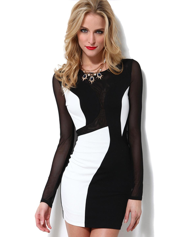4927dd512dd5 Großhandel Lange Ärmel Bodycon Kleid Hot Sexy Schwarz Mesh Hübsche Damen  Clubwear Mesh Patchwork Farbe Block Kleid W84368 Von Hilllin1989,  14.88  Auf De.