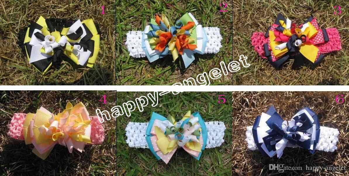baby 4inch M2M layered Curly Ribbon hair band hairpins Corker hairband korker hair bows clips crochet headband hair accessories PD008