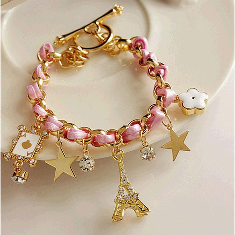 Шарм браслеты ювелирные изделия многоэлементный золотая цепь кожа веревка Кристалл ручной браслет Эйфелева башня Звезда кулон покер для девочек 3 цвета