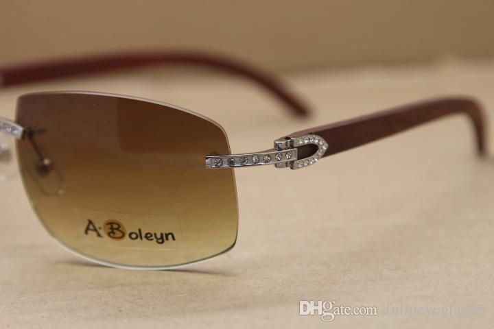 핫 큰 4189705 남성 선글라스 큰 다이아몬드 안경 무테 골드 나무 태양 안경 야외 안경을 운전 C 장식 크기 : 62-18-140mm