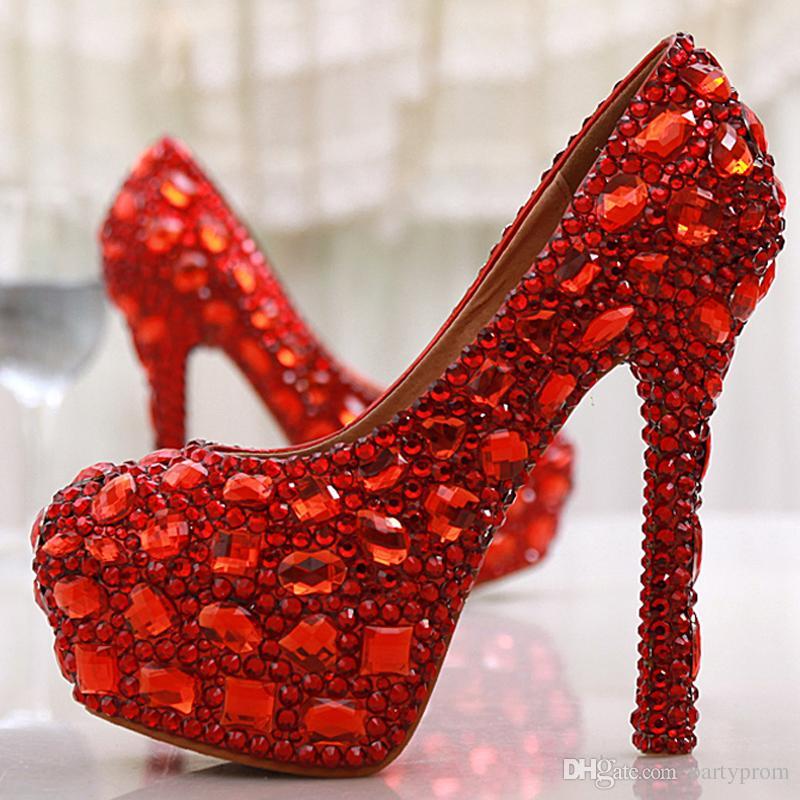Scarpe da sposa di cristallo rosso scintillante Scarpe da sera Scarpe da sera party Scarpe con tacchi alti da ballo con pochette di cristallo abbinata