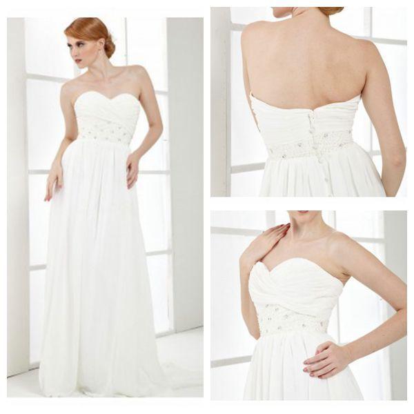 Cheap Maternity Wedding Dresses Under 100: White Empire Waist Chiffon Wedding Dress 2015 Sweetheart