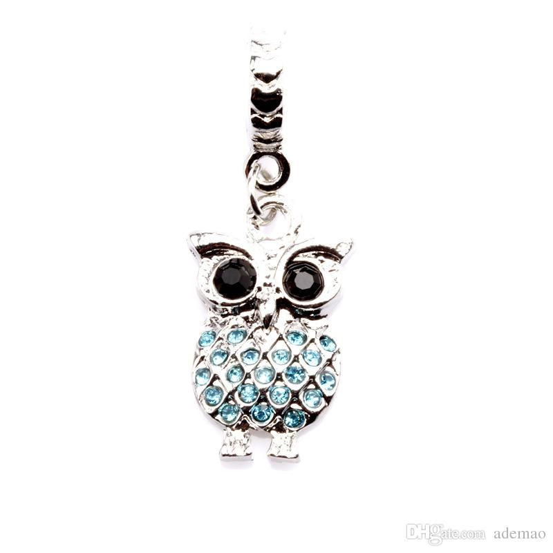 Big Hole Loose space Beads owl charms pendants For Pandora DIY Jewelry Bracelet women jewelry wholesales