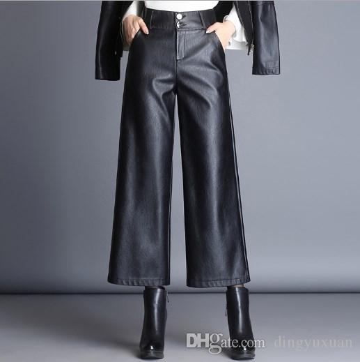 e0a052fd27b8e 2019 Autumn Winter Fashion Wide Leg Faux Leather Pants Womens Black High  Waist Trousers Women Formal Casual Clothing Plus Size 3XL 4XL From  Dingyuxuan