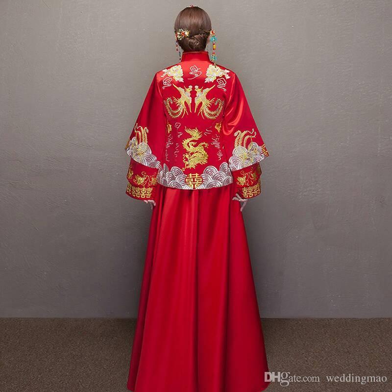 2018 Cheong-sam Silk Fashion Chinesisches Hochzeitskleid Dame Disposition Delikatesse Rot Stickerei Einzigartigen Stil High-leve Guaranteed100%