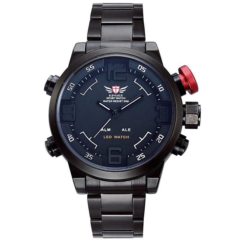 6af3b944b338 Satın Al Yeni EPOZZ EP2309 Askeri Saatler Erkekler Lüks Marka Tam Çelik Relogio  Masculino Led Dijital Reloj Su Geçirmez Montre Homme Rahat Erkekler Saatler