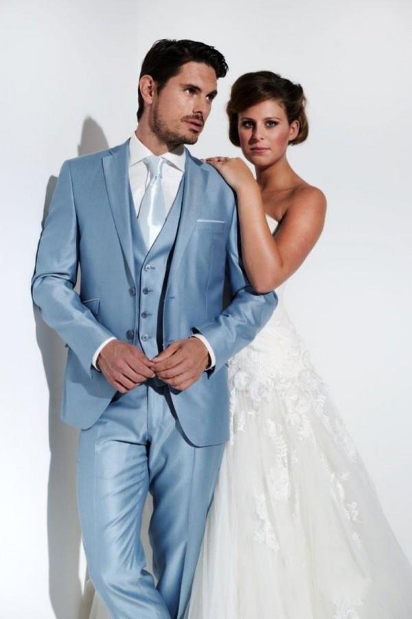Mens Wedding Tuxedos 2015 Notched Lapel Light Blue Wedding Suits For ...